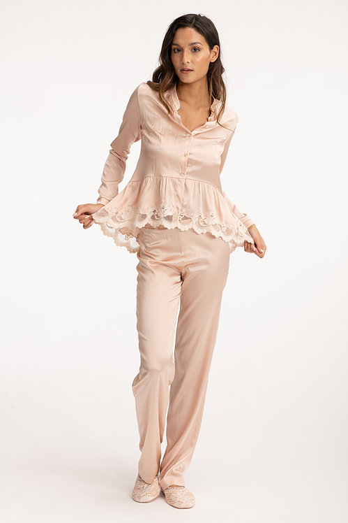 Silk Beige Pajama Shirt - Matching Set