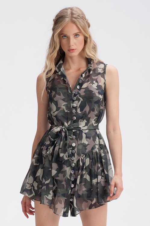 Buttoned-Up Camouflage Mini Dress
