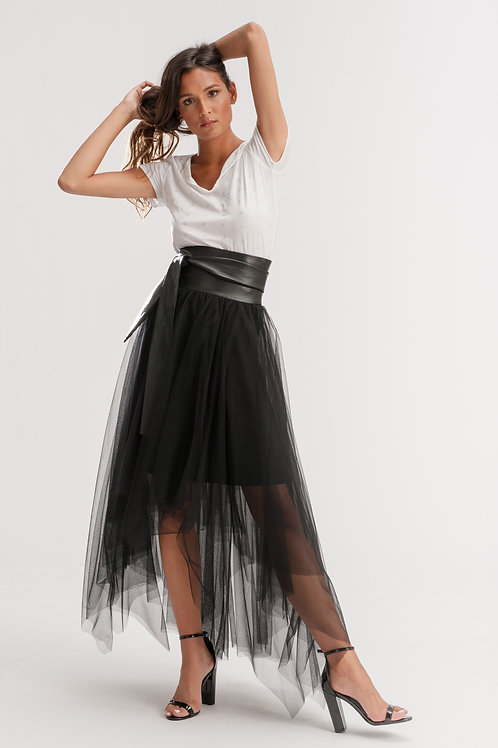 Tulle and Leather Skirt L166