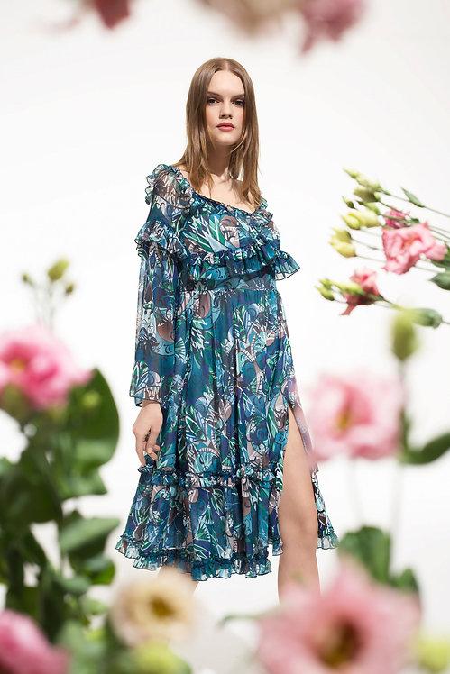 Floral Side Slit Chiffon Midi Dress
