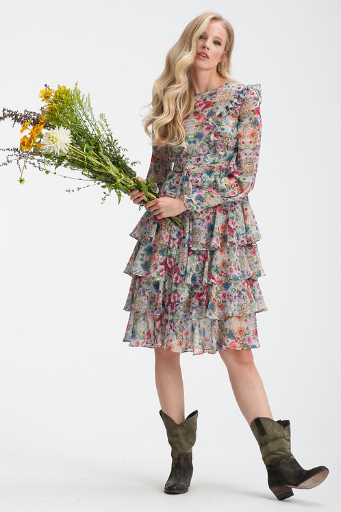 Longsleeve Floral Mini Layered Dress