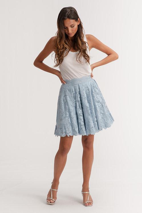 Pleated Mini Blue Lace Skirt