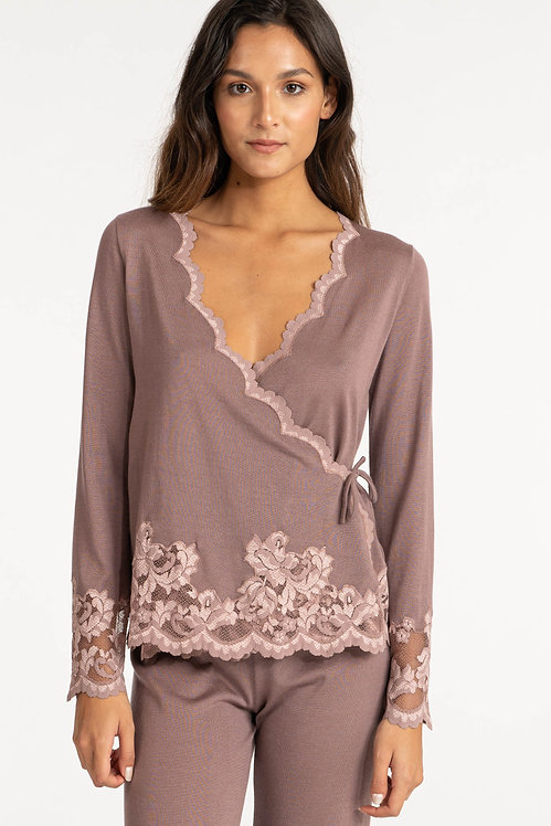 Cashmere Loungewear Wrap Top with Lace details - Matching Set