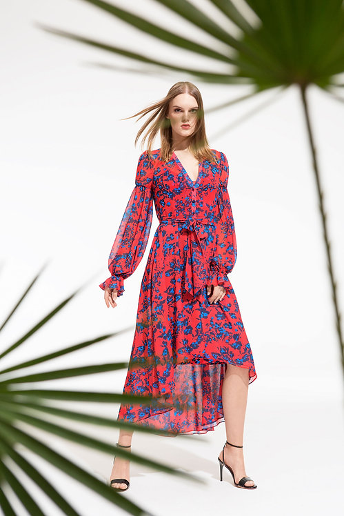 Spring Red Floral High/Low Dress