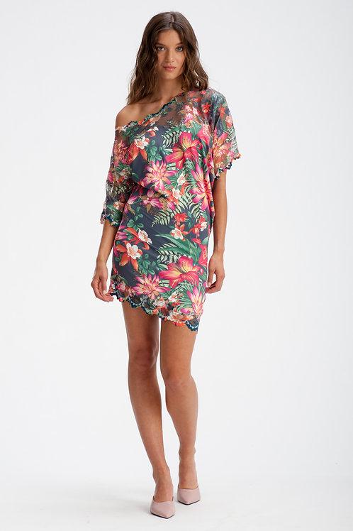 Floral Print Asymmetric Jersey Dress