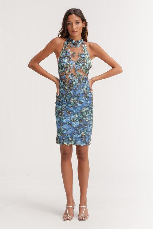 Blue Colorful Lace Dress