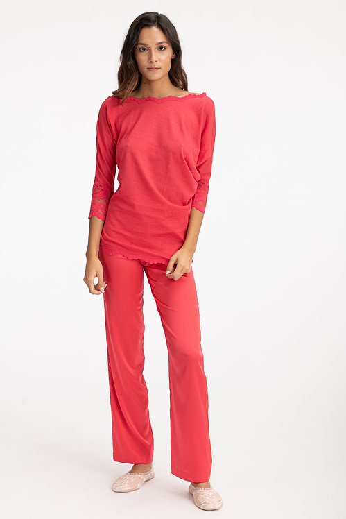 Red Cashmere Sweater Front View