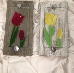 Tulips on Barnwood