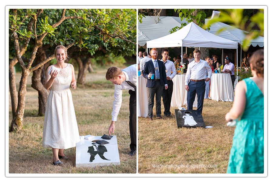 corn hole wedding party photographer