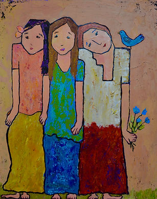 three friends and a bird pink background.jpeg