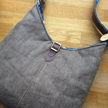 Brown herringbone linen shoulder bag