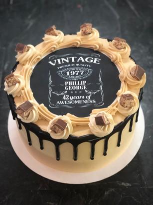 Custom Vintage Label Drip Cake