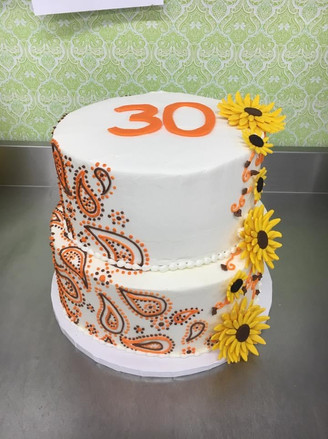 Custom Adult Cake with Paisley Design