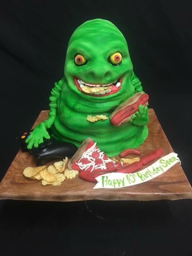 Ghostbusters Slimer Cake