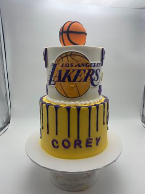 Custom LA Lakers Drip Cake