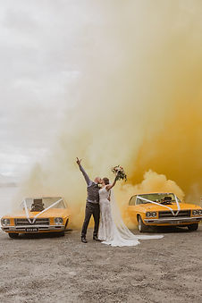 Te Anau drag car wedding photo