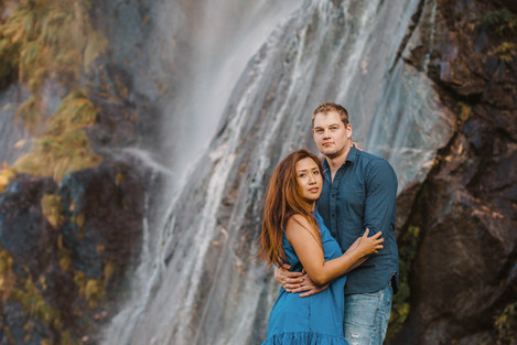 Wanaka sunset engagement photos at a waterfall