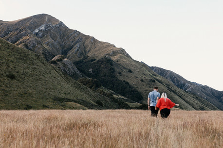Engagement photos at Moke Lake in Queenstown