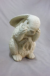 Rabbit stone statues in Invercargill