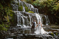 Bride and Groom at the Purakaunui Falls