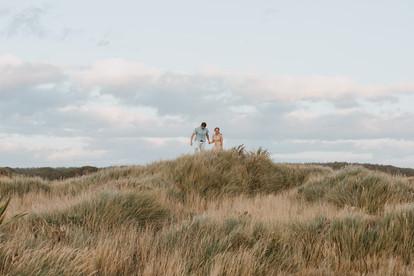 Sunset engagement photos at Oreti Beach in Invercargill