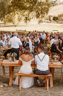 Outdoor wedding reception at Lowburn Outlet in Cromwell