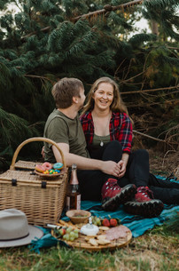 Invercargill photographer - Picnic in a pine forest with dog