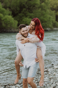 Queenstown sunset river and mountain engagement photos