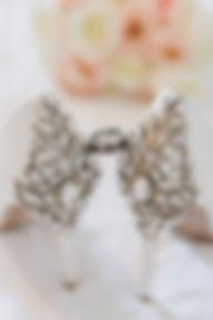 Sparkling jewel white wedding heels