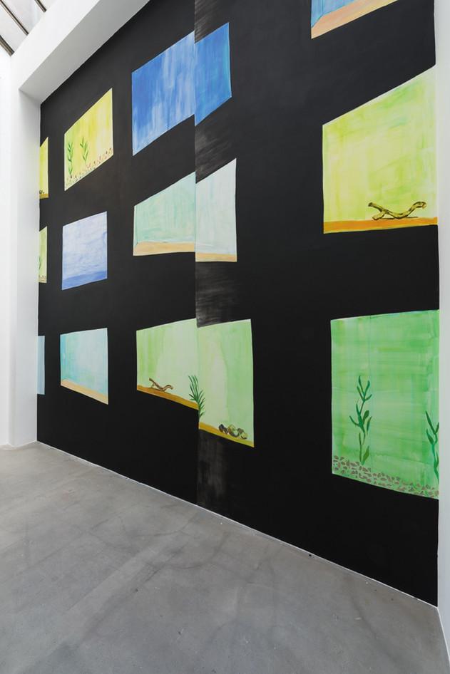 Fish Tank Mural, 9 x 7 metres, acrylic and watercolor, 2016