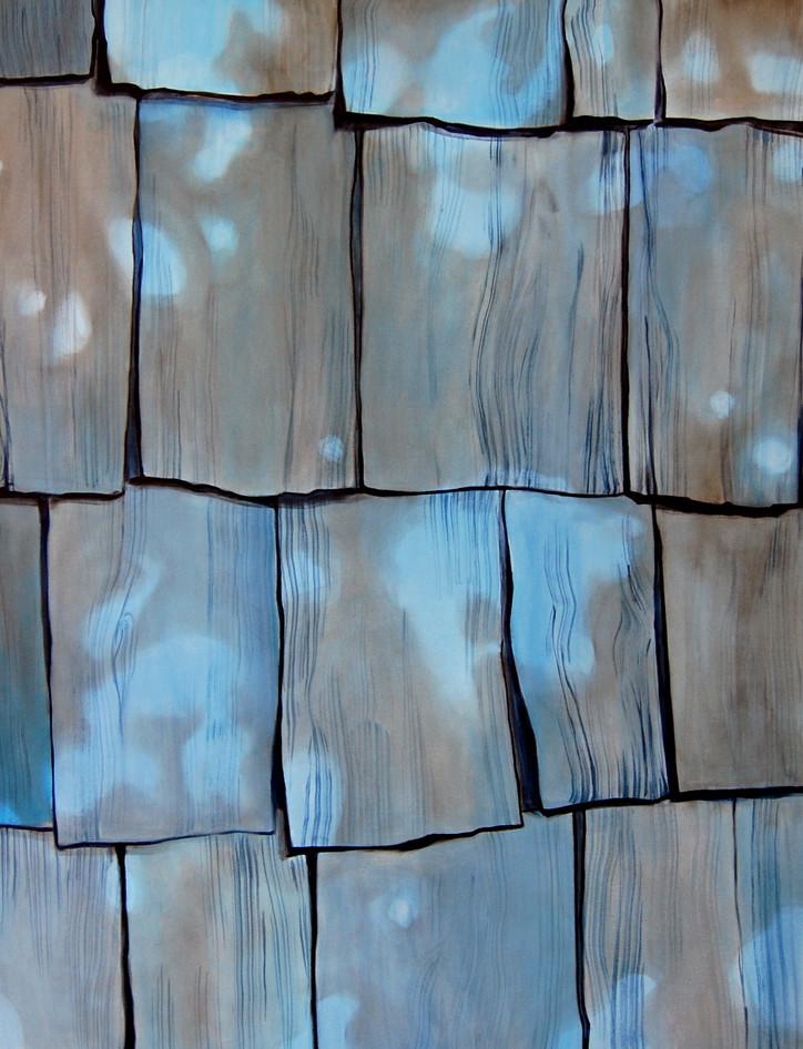 Blue Cladding, acrylic and oil paint on canvas, 130 x 100 cm