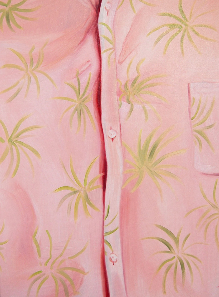 Pink Shirt, oil paint on canvas, 18 x 14 inches