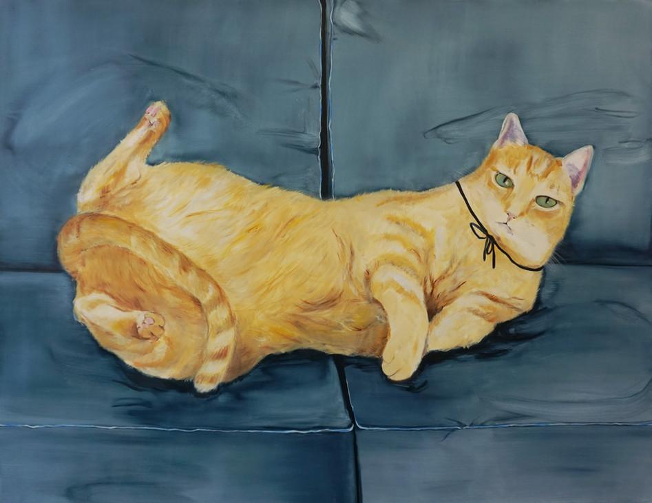 Grey Cat, oil paint on canvas, 100 x 130 cm