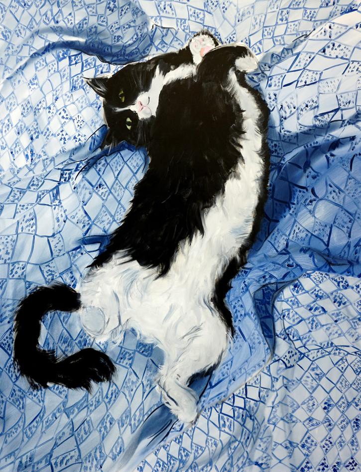 Blue Cat, oil paint on canvas, 130 x 100 cm