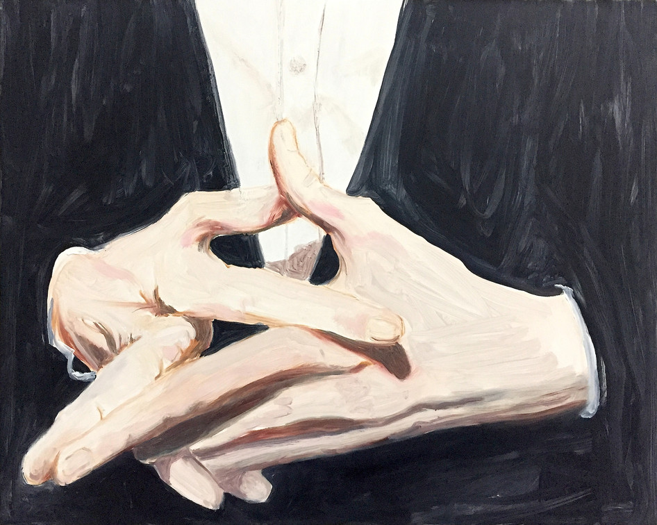 Finger Pointing, oil paint on wood, 20 x 30 inches