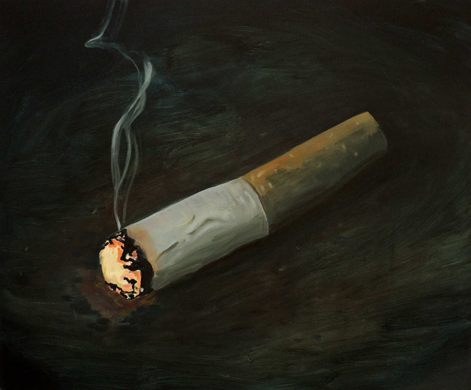 Ciggie, oil paint on canvas, 28 x 24 inches