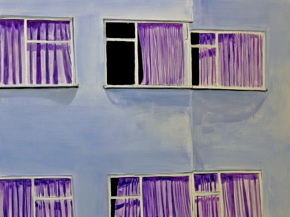Cihangir Curtains, oil paint on canvas, 100 x 75 cm