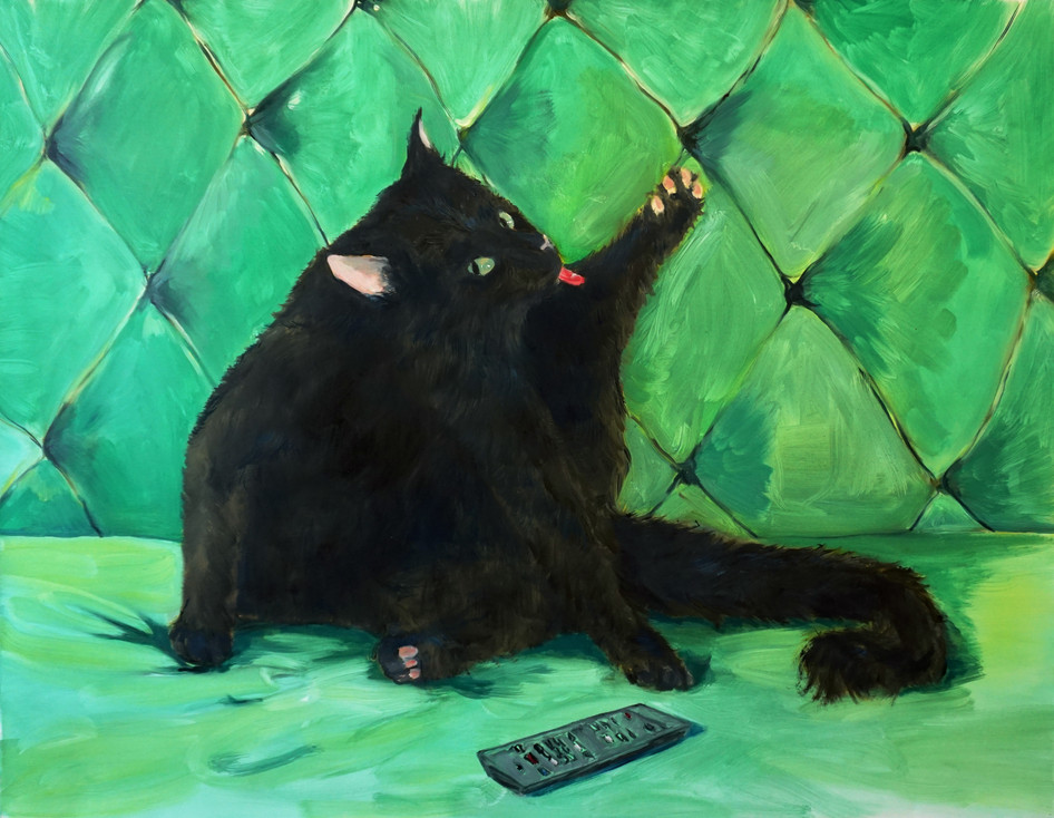 Green Cat, oil paint on canvas, 100 x 130 cm