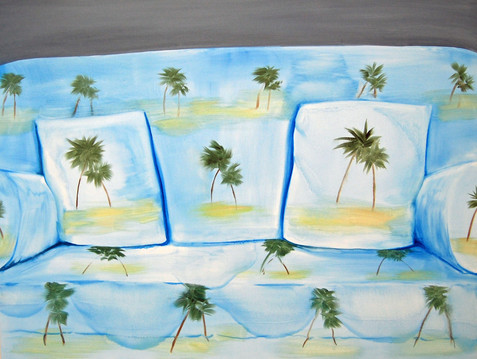 Palm Sofa, oil paint on canvas, 40 x 52 inches