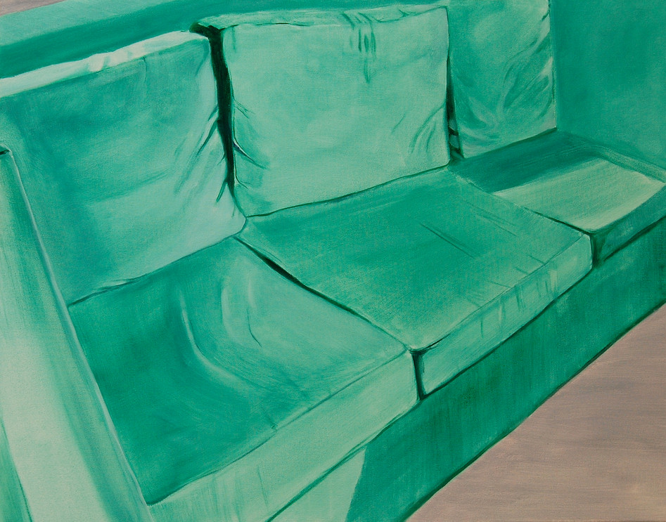 Green Sofa, oil paint on canvas, 16 x 24 inches
