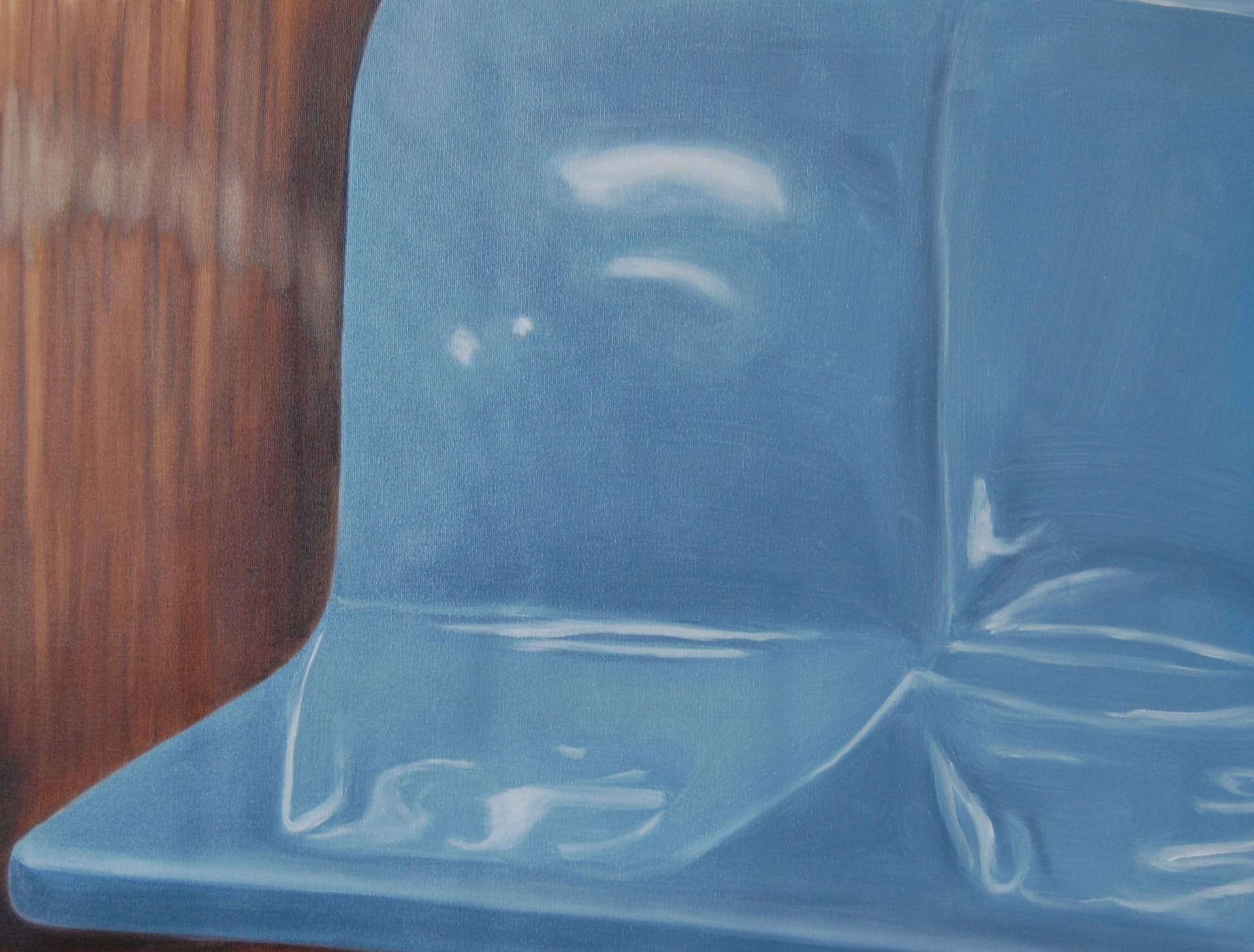 R Train Blue, oil paint on canvas, 14 x 18 inches