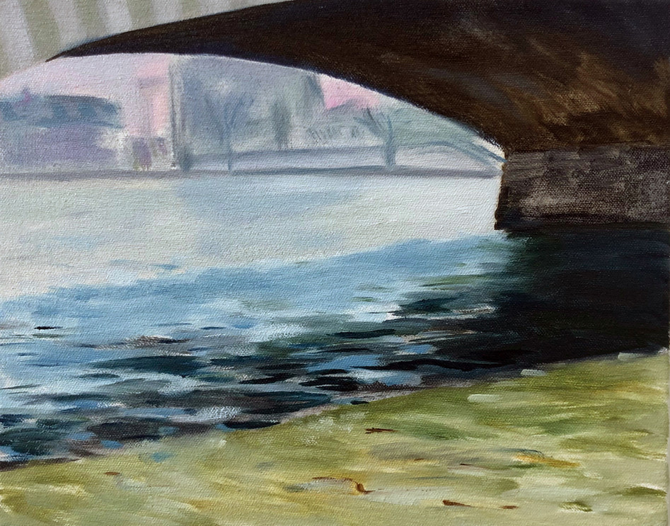 Seine, oil paint on canvas, 8 x 10 inches
