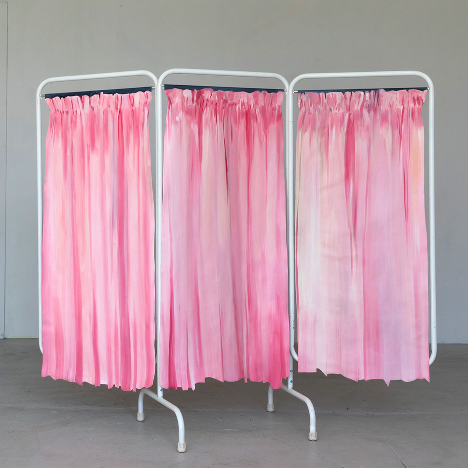 Privacy Curtains, oil on canvas, velcro, medical metal folding screen, 67 x 81 inches