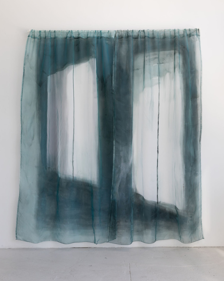 Lone Curtains, acrylic paint on sheer curtain panels over wall painting, curtain rod, 250 x 200 cm