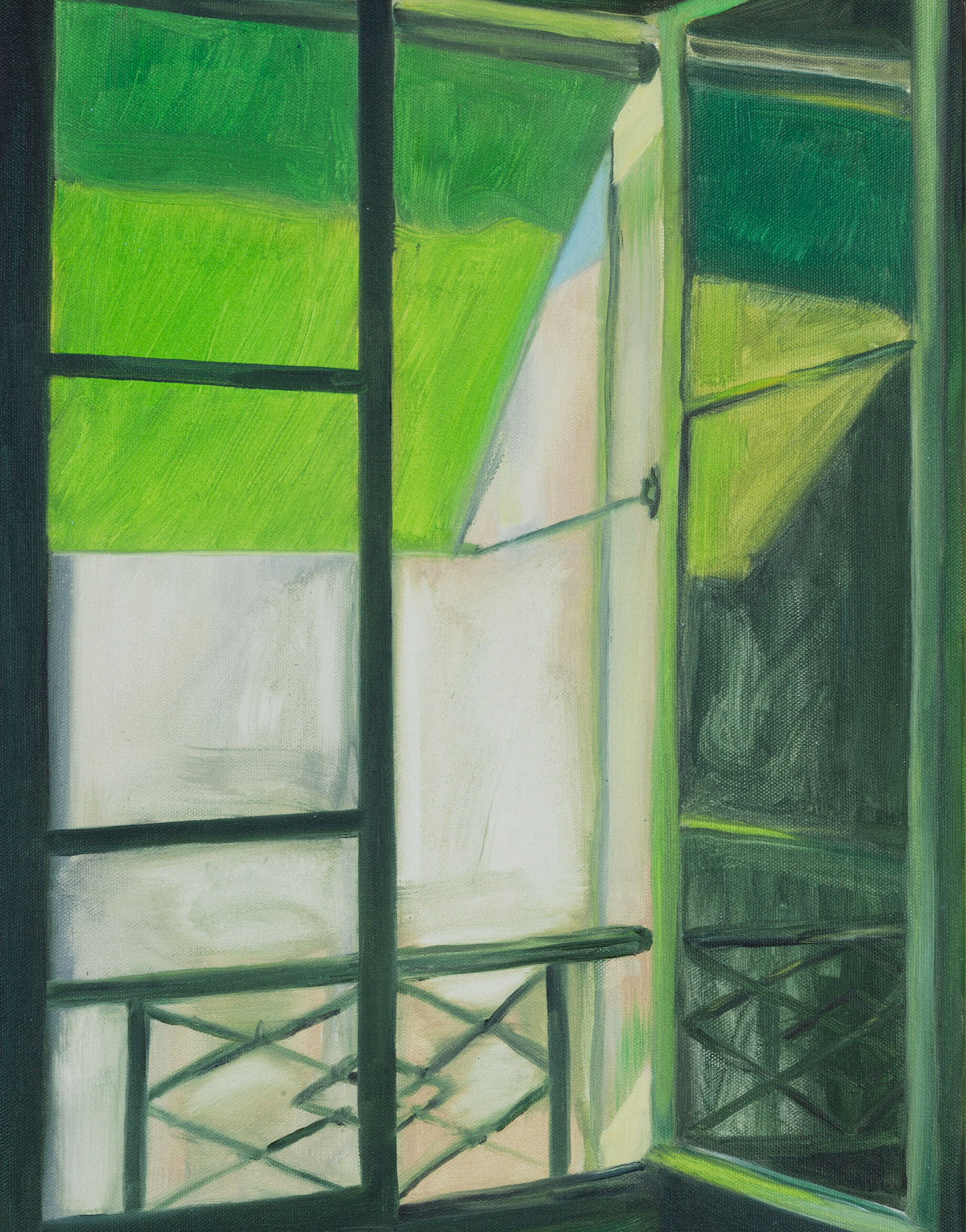 Green Window, oil paint on canvas, 18 x 14 inches