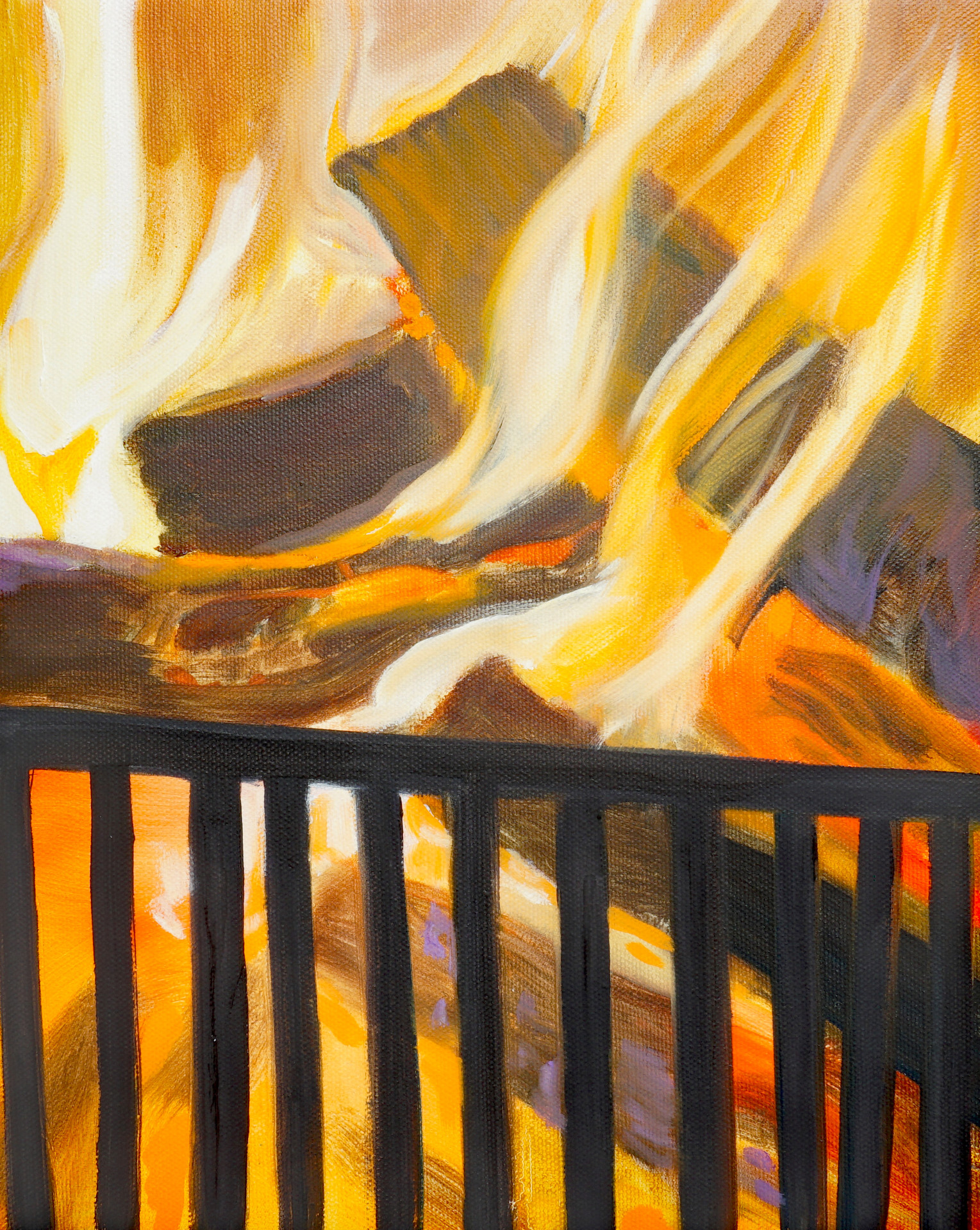 Fire, oil paint on canvas, 18 x 14 inches, 2021