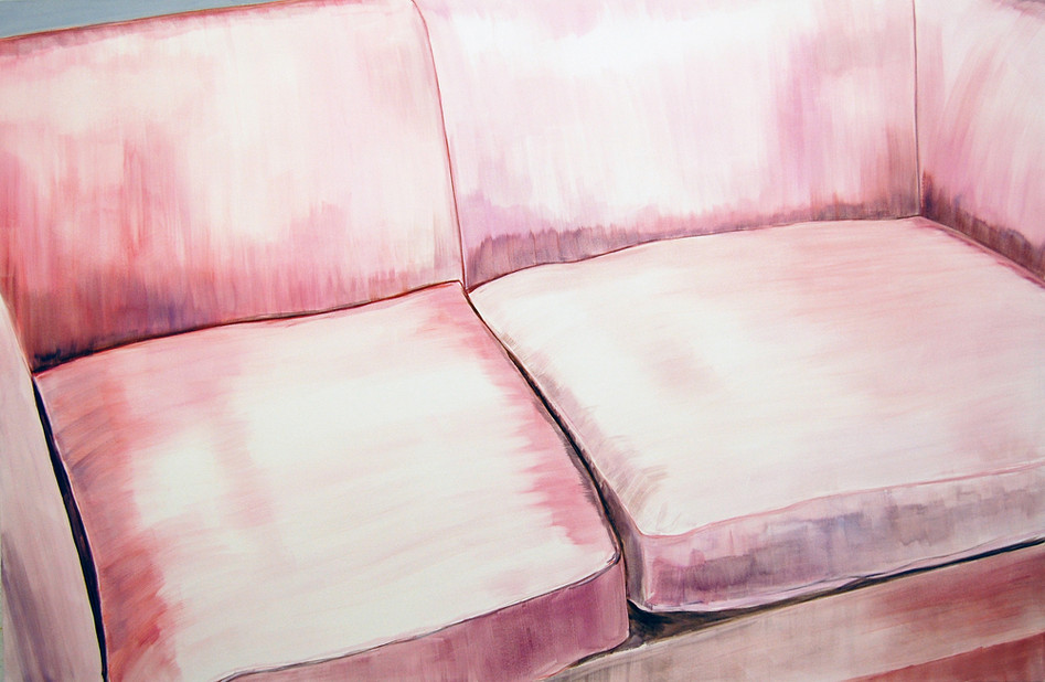 Pink Sofa, oil paint on canvas, 40 x 52 inches