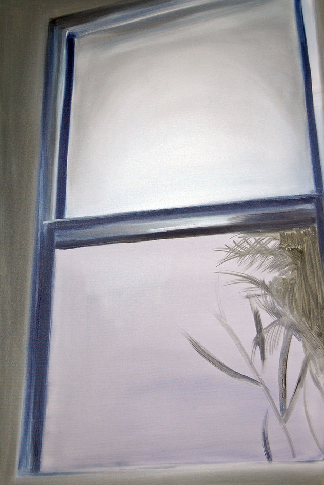 Palm Window, oil paint on canvas, 36 x 24 inches