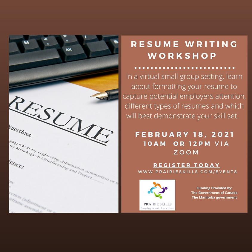 Resume Writing Workshop 10 AM