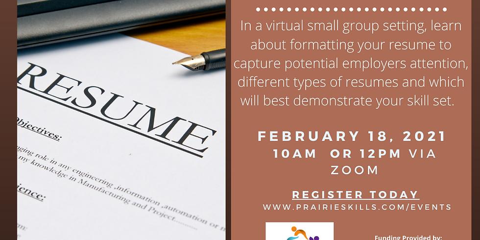 Resume Writing Workshop 12 PM